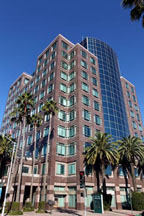 Anaheim building with many windows and palm trees around building