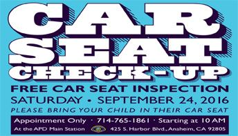 Flier of Car Seat Check-Up Day