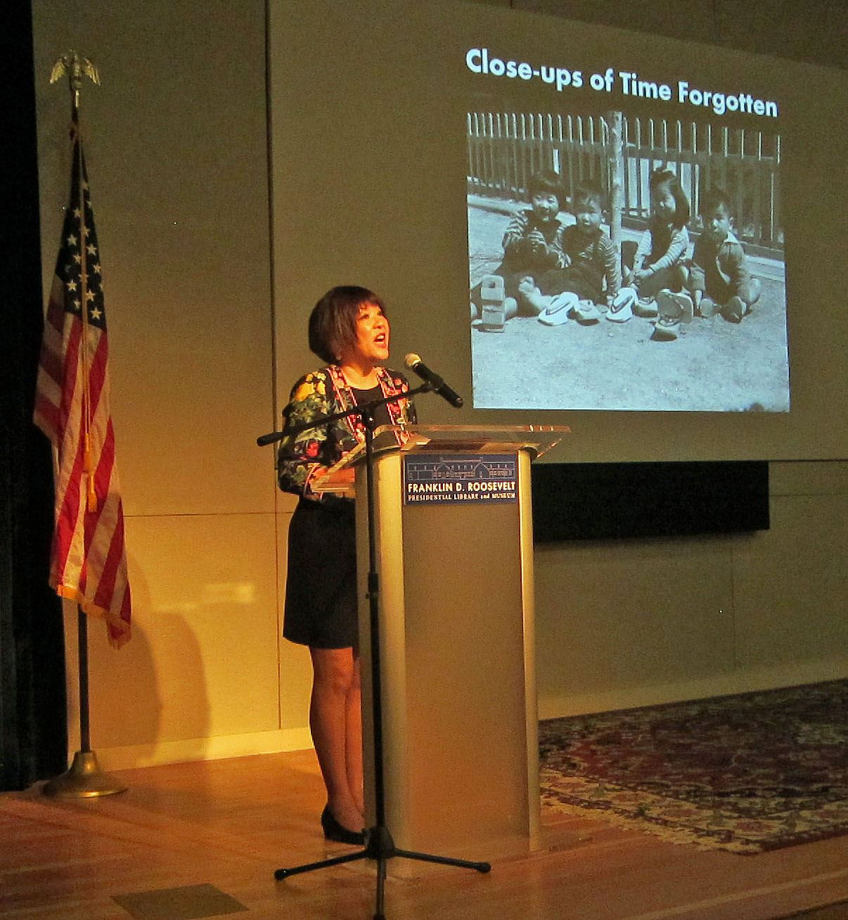 FDR Presidential Library Speech Patti Hirahara Photo Courtesy of the FDR Presidential Library