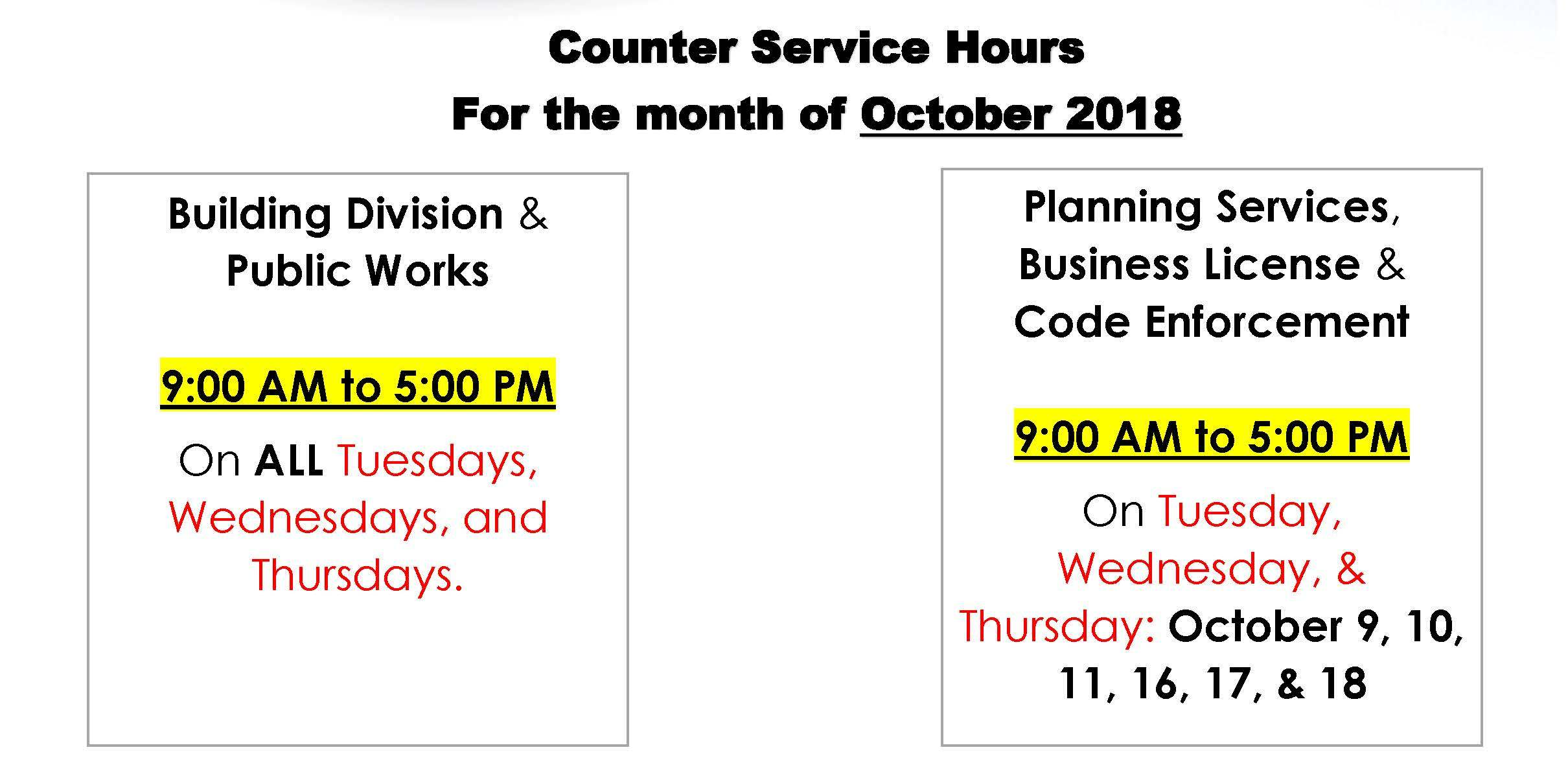Temporary Counter Hours