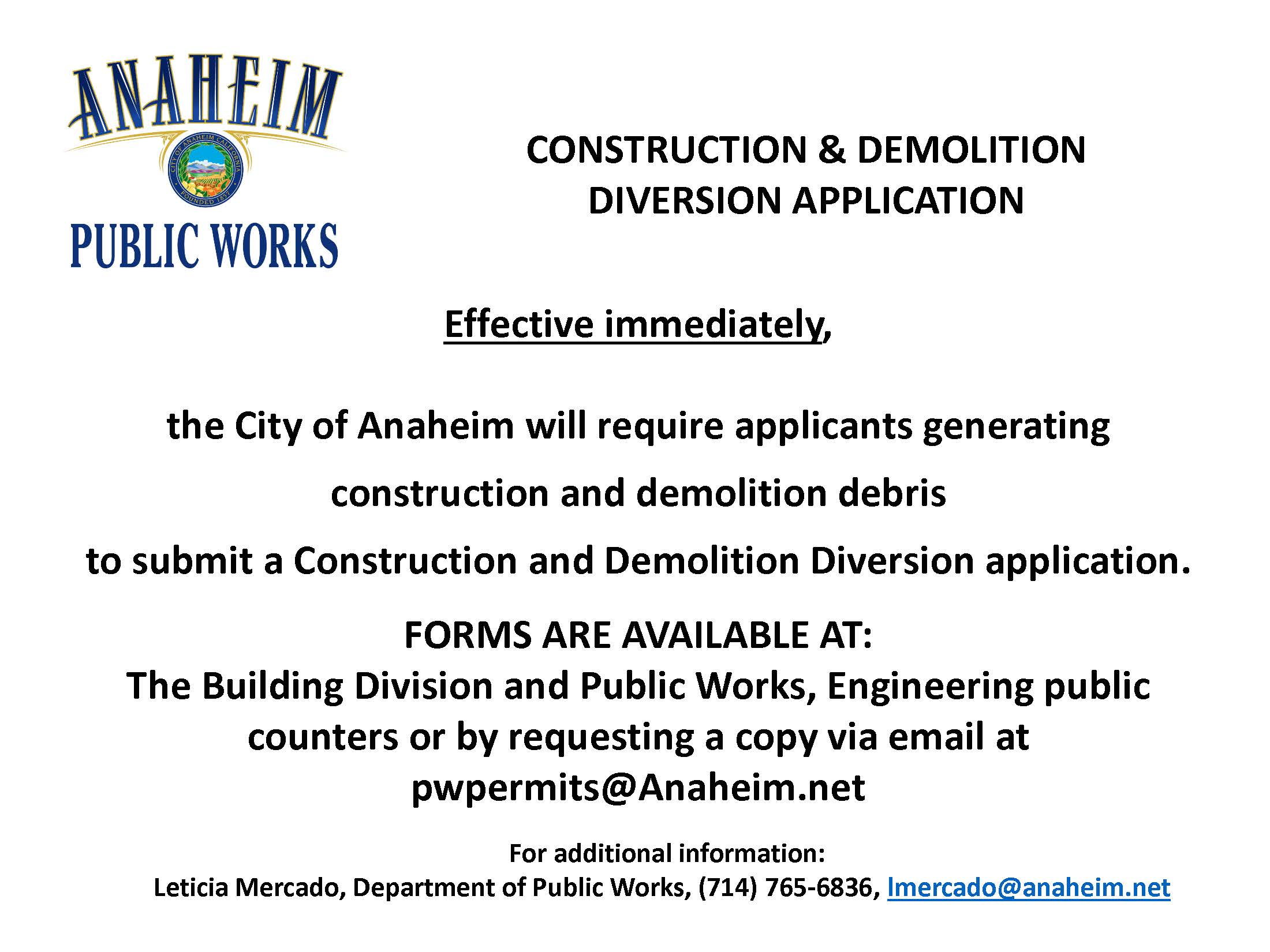 CONSTRUCTION & DEMOLITION  DIVERSION APPLICATION