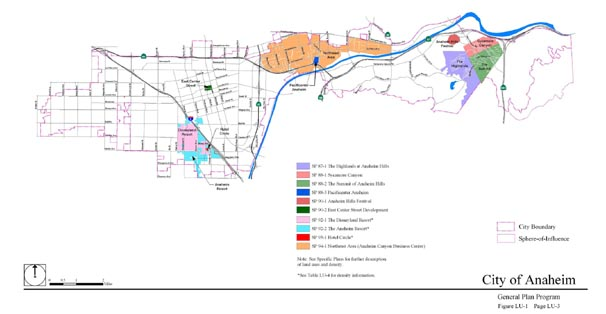 Map of the specific plans in the City of Anaheim
