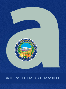 "Large lowercase ""a"" with Anaheim city seal and text ""At Your Service"""