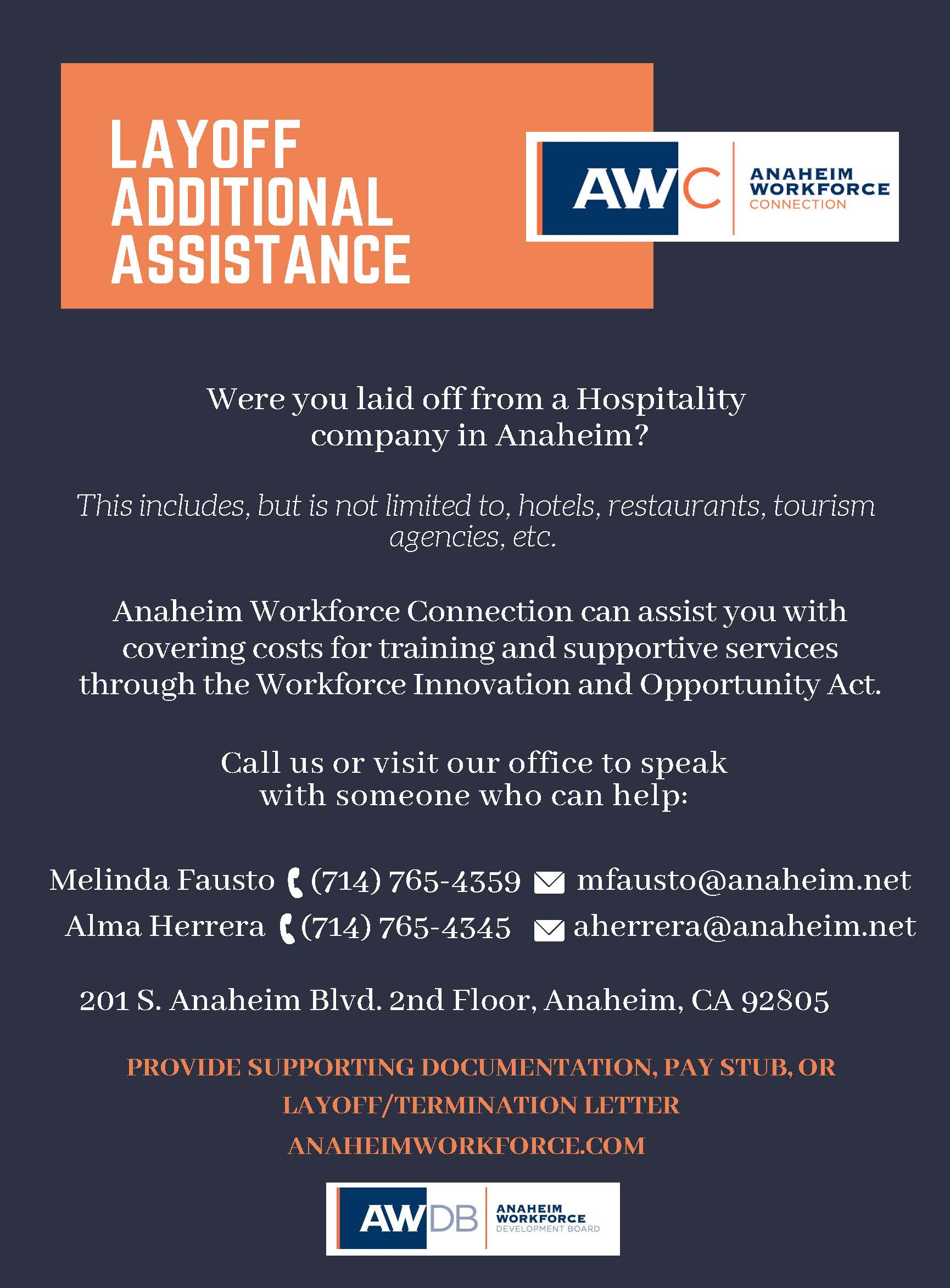 Layoff Additional Assistance Hospitality Flyer