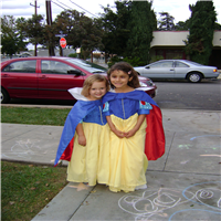 Two little girls dressed up as Snow White