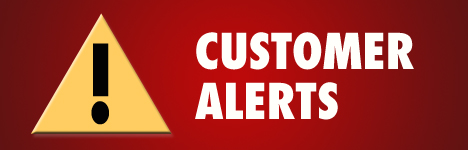 "Triangle with exclamation point with text ""Customer Alerts"""