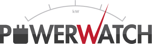 Powerwatch logo with usage meter design