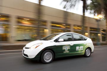 Electric Prius with City of Anaheim decals driving