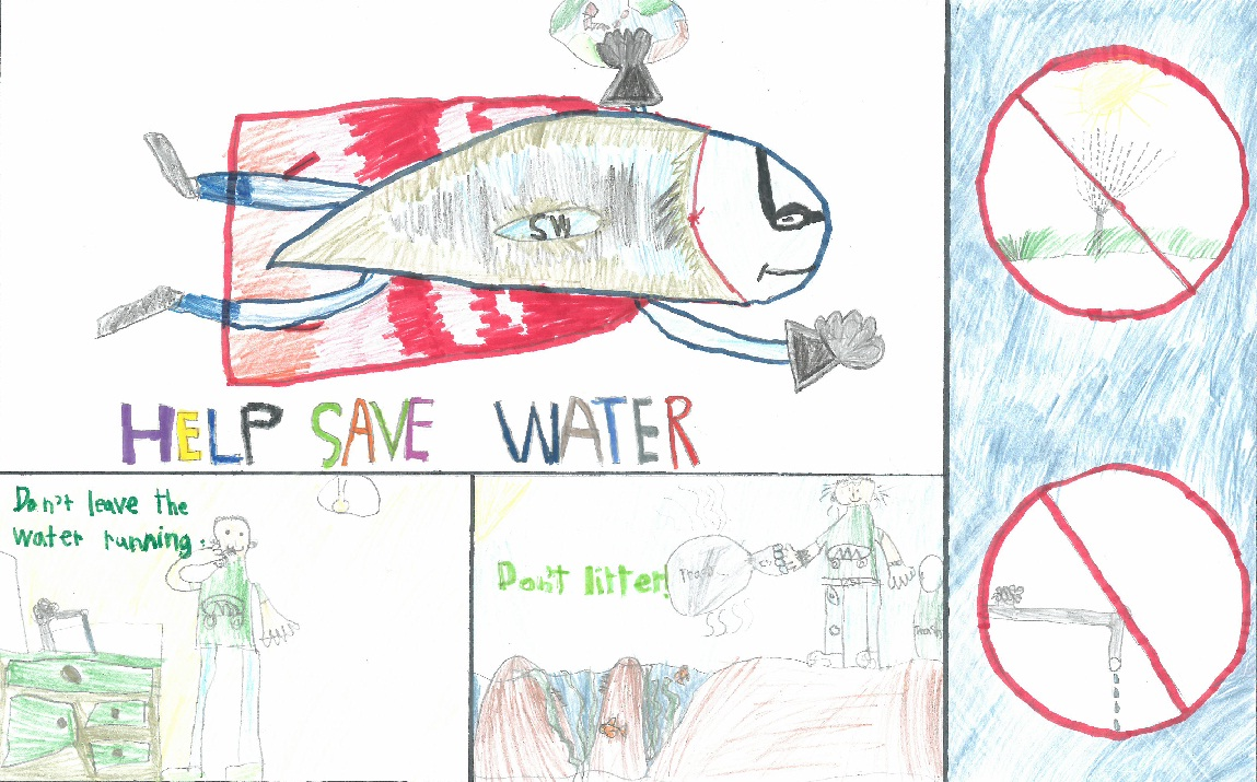 Poster drawing of ways to save water and text
