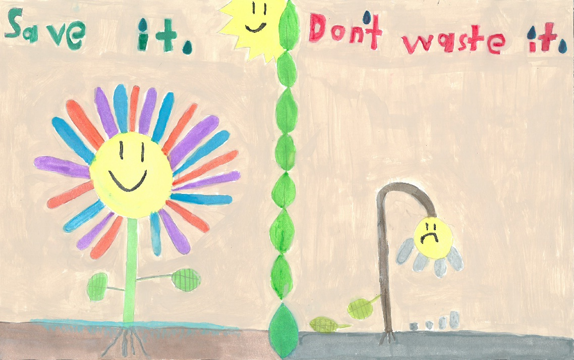 Poster drawing of happy flower with water and sad flower with no water