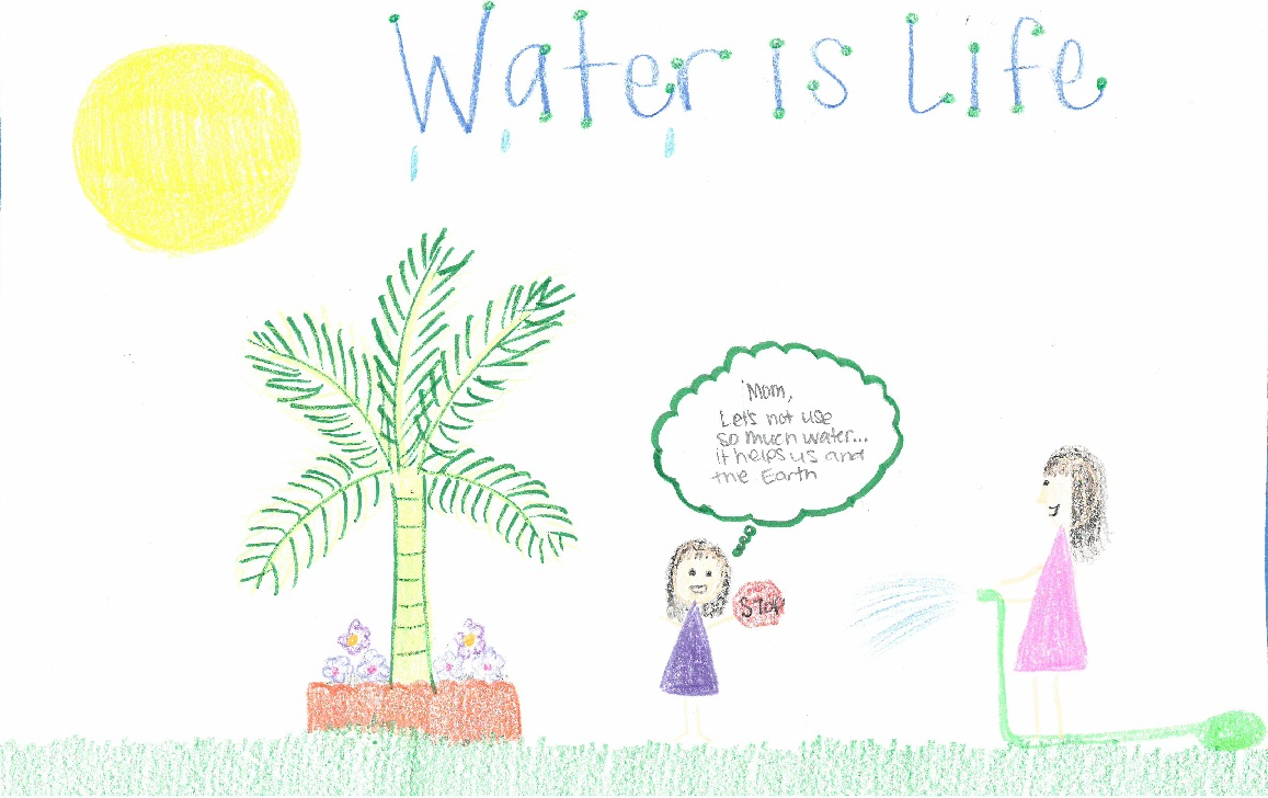 Poster drawing of daughter telling mom to stop watering lawn