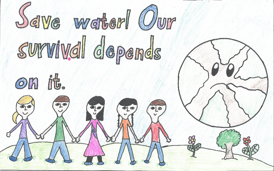 Poster drawing of people holding hands and Earth with sad face