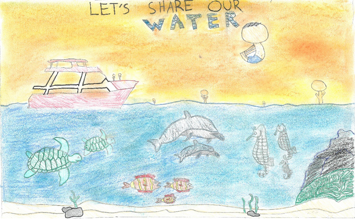 Poster drawing of ocean with fish and yacht