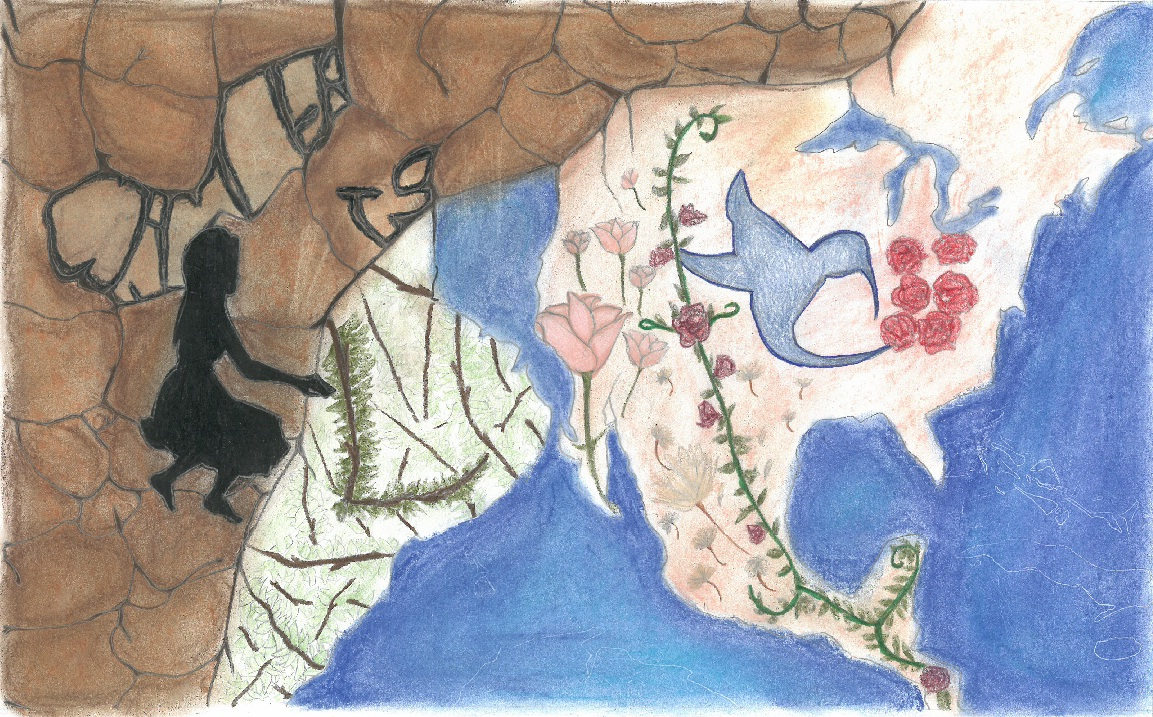 "Poster drawing of rock, trees, flowers and hummingbird that spell ""Water is Life"""