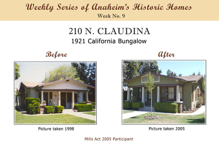 Weekly Series of Anaheim's Historic Homes, Week Number 9, 210 North Claudina, 1912 California Bungalow