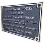 The Glover house Mills Act plaque
