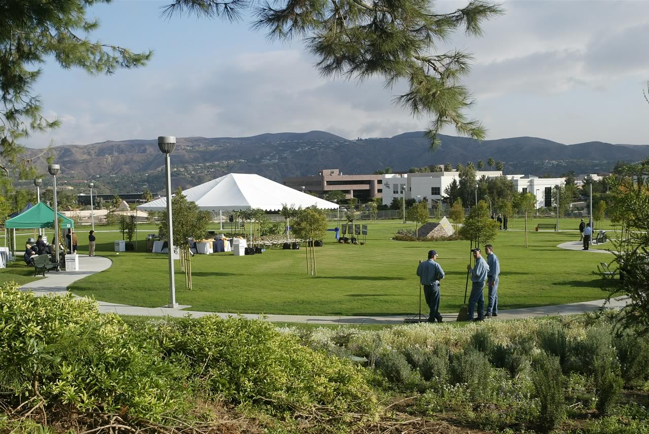 Tents in park area set up for ceremony