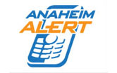 "Logo with cellphone and text ""Anaheim Alert"""