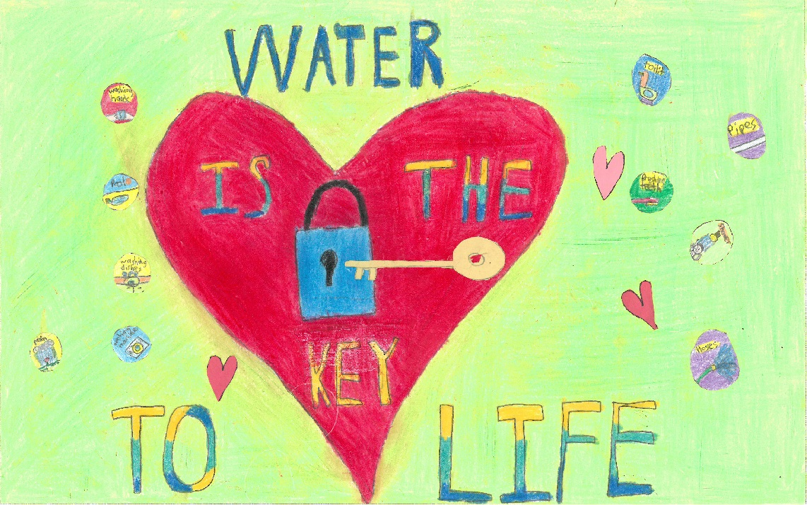 "Poster drawing with heart, padlock and key with text ""Water is the key to life"""