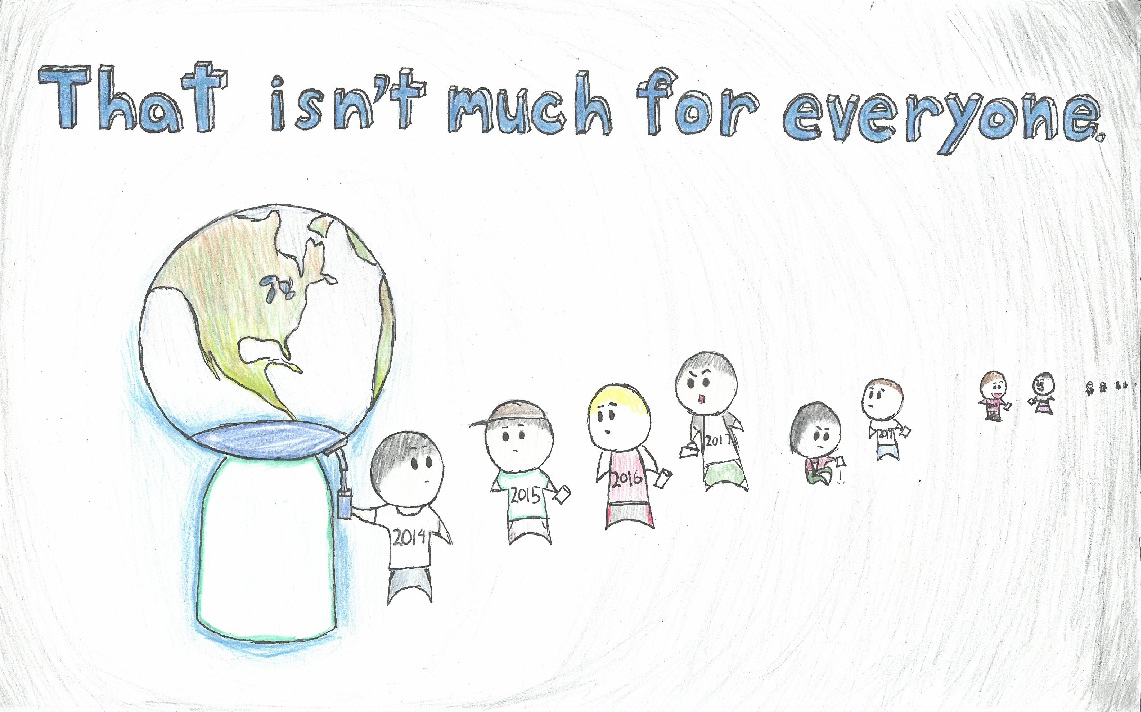 Poster drawing of line of kids taking water from Earth-themed water cooler