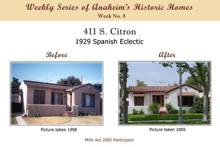Weekly Series of Anaheim's Historic Homes, Week Number 8, 411 South Citron, 1929 Spanish Eclectic